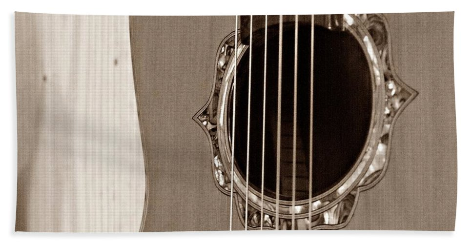 Guitar Beach Towel featuring the photograph Mounted 6 String by Steve Cochran