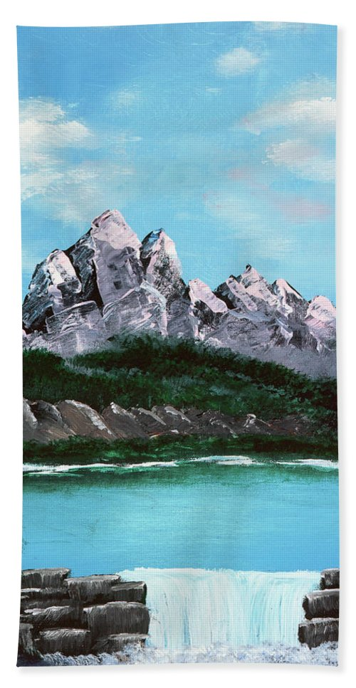 Mountain Beach Towel featuring the painting Mountian Waterfall by Terry Lewey