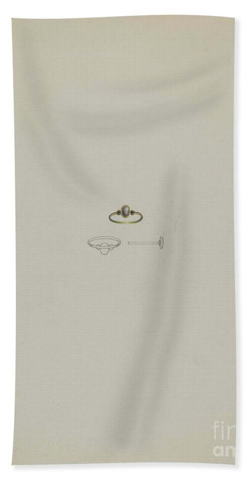 Beach Towel featuring the drawing Mourning Ring by Michael Fenga