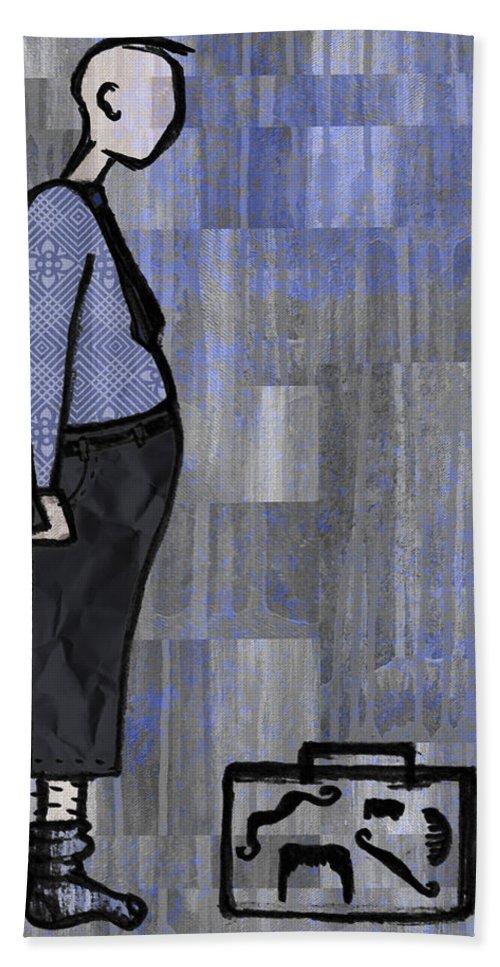 Salesman Beach Sheet featuring the digital art Moustache Salesman by Kelly Jade King