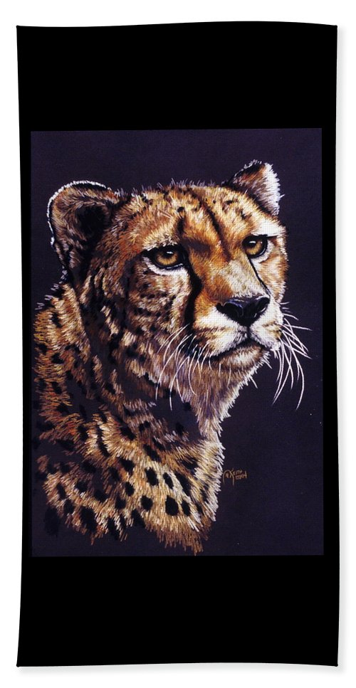 Cheetah Beach Towel featuring the drawing Movin On by Barbara Keith