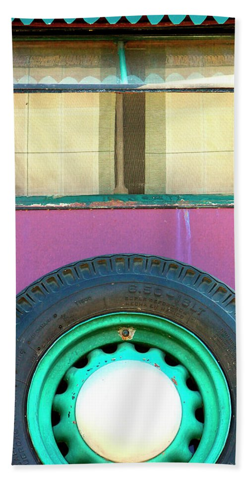 Airstream Beach Towel featuring the photograph Movin On Palm Springs by William Dey
