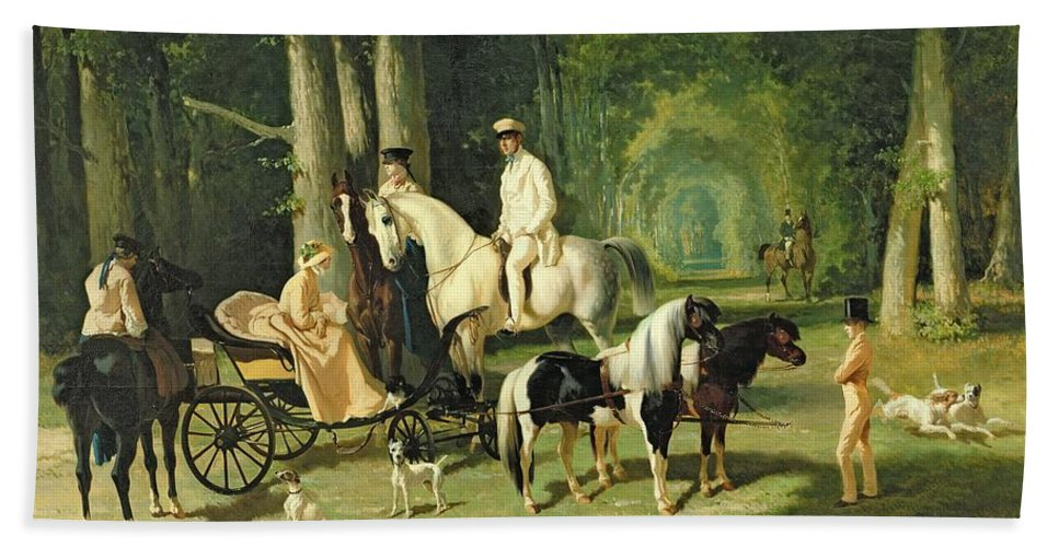 And Beach Towel featuring the painting Mr And Mrs A Mosselman And Their Two Daughters by Alfred Dedreux