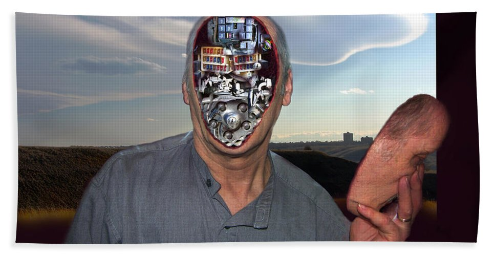 Surrealism Beach Towel featuring the digital art Mr. Robot-Otto by Otto Rapp