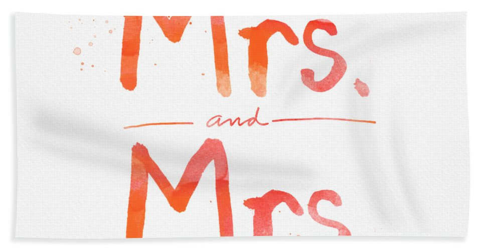 Mrs And Mrs Beach Towel featuring the painting Mrs And Mrs by Linda Woods