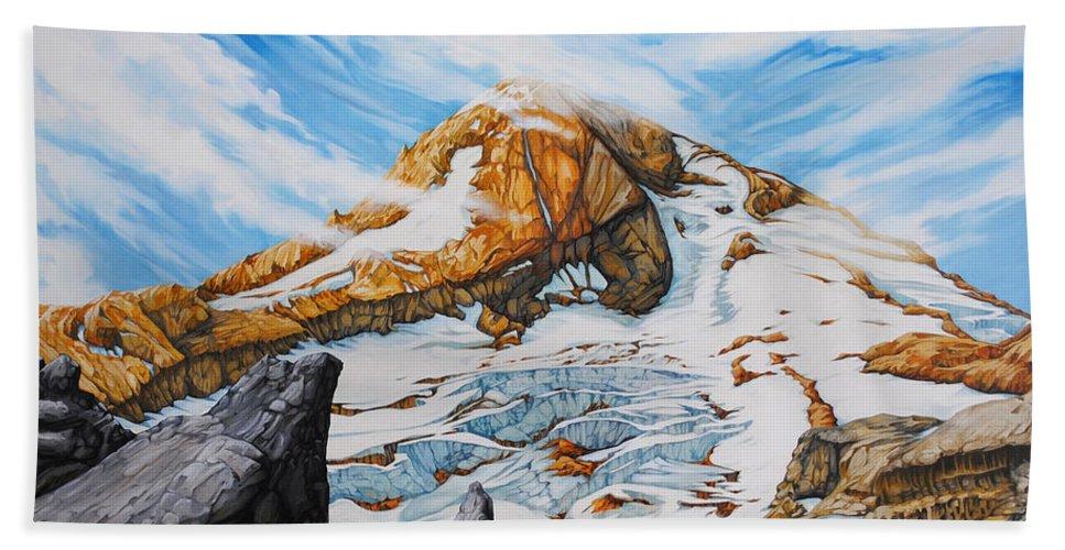 Oregon Beach Towel featuring the painting Mt. Hood by Chris Steinken