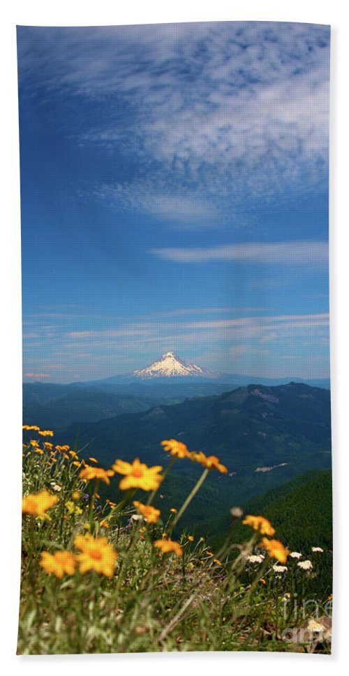 Mt Hood Beach Towel featuring the photograph Mt. Hood In The Distance by Bruce Block
