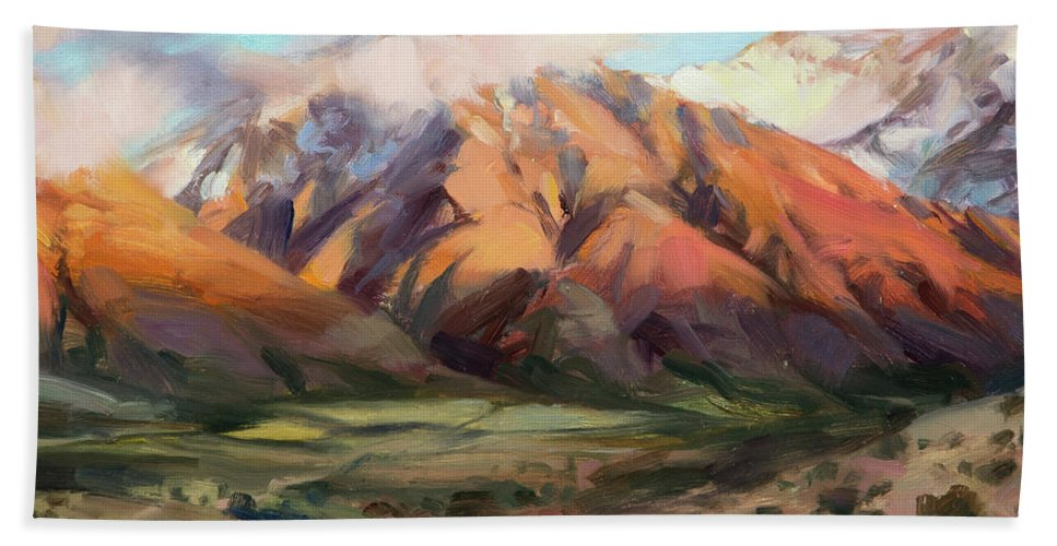 Mountains Clouds Beach Towel featuring the painting Mt Nebo Range by Steve Henderson