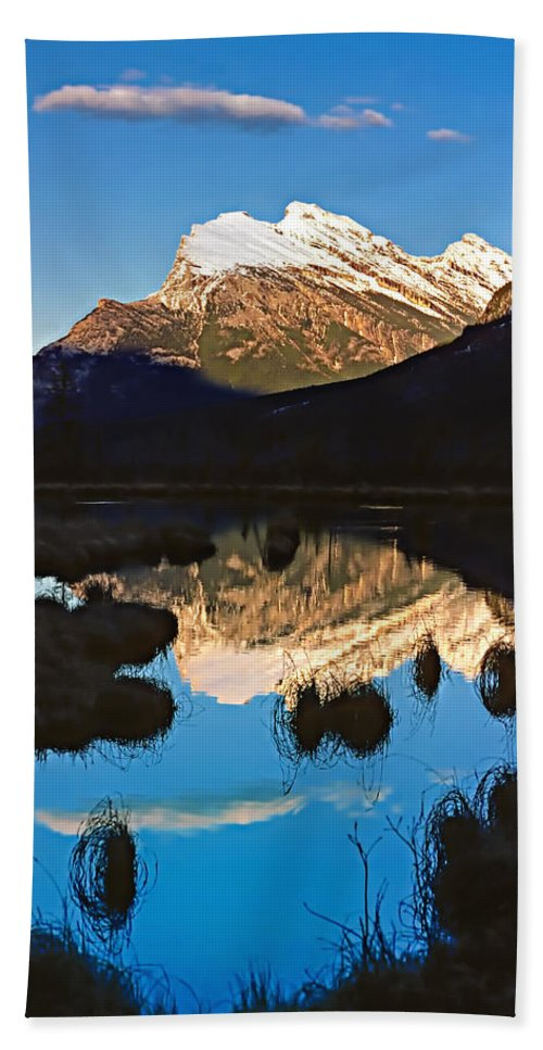Mountains Beach Towel featuring the photograph Mt Rundle by Steve Harrington