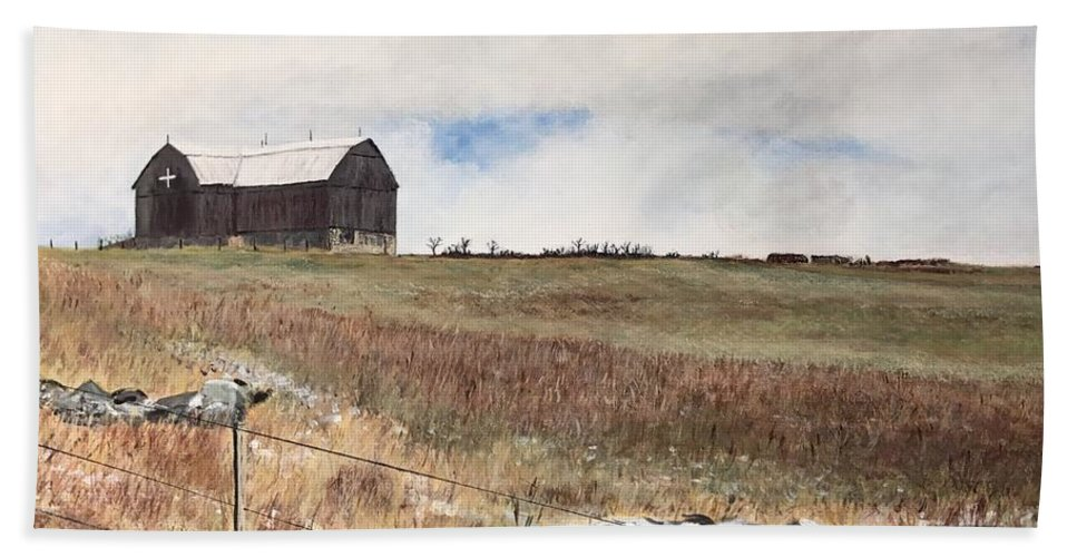 Landscape Beach Towel featuring the painting Mt Savior Barn by Joel Charles