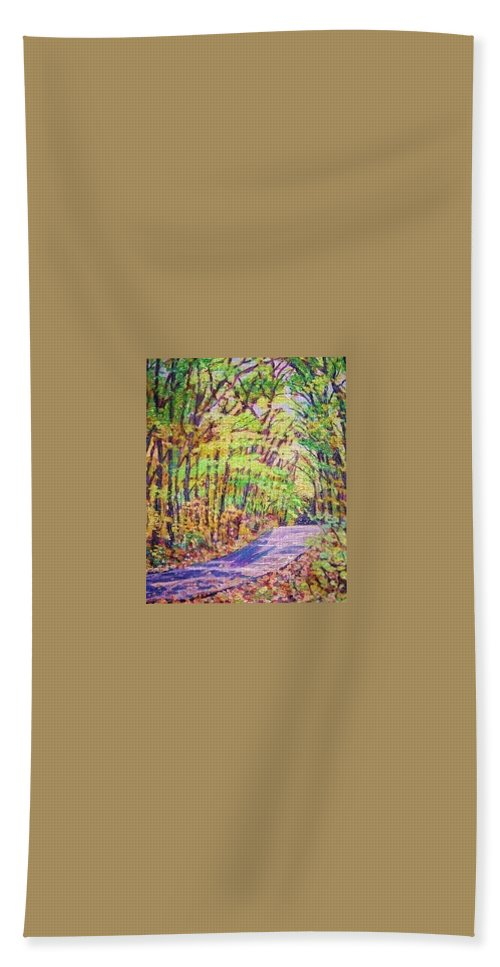 Woods Beach Towel featuring the painting Mt. Tom Spring Day by Richard Nowak