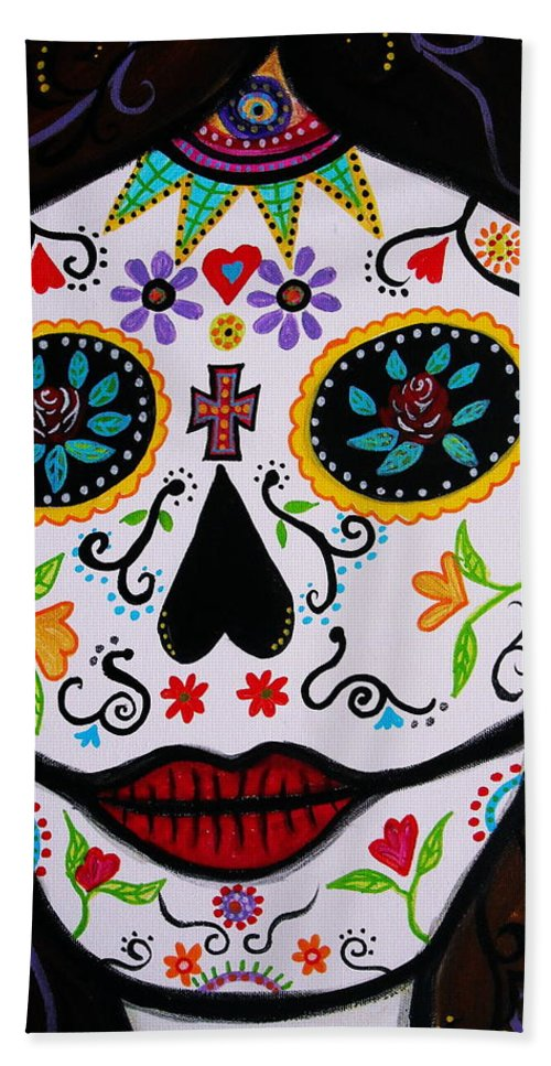 Dia Beach Towel featuring the painting Muertos by Pristine Cartera Turkus