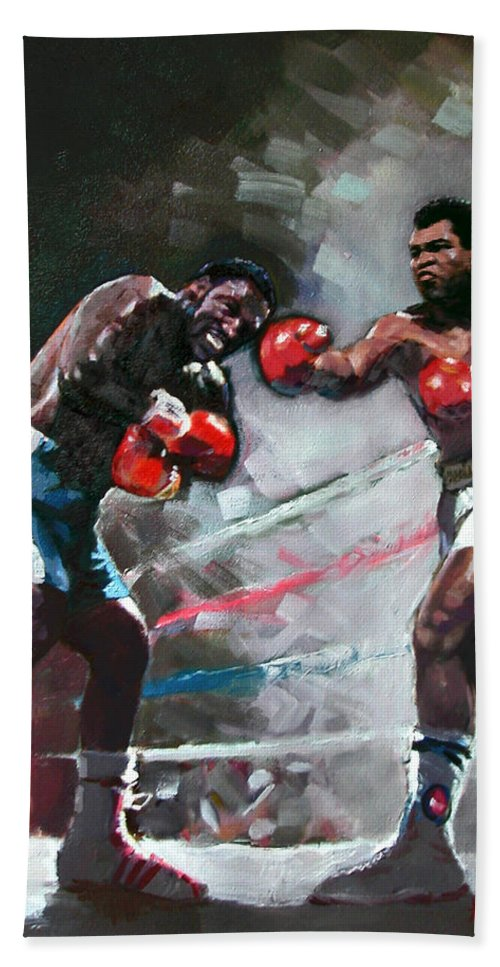 Muhammad Ali Beach Towel featuring the painting Muhammad Ali And Joe Frazier by Ylli Haruni