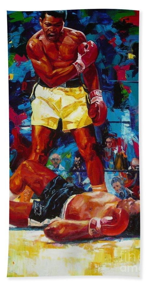 Ignatenko Beach Towel featuring the painting Muhammad Ali by Sergey Ignatenko