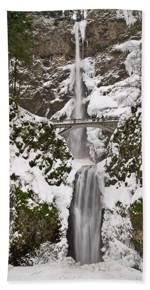 Multnomah Falls Winter Wonderland Beach Towel featuring the photograph Multnomah Falls Winter by Wes and Dotty Weber