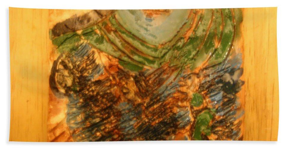 Jesus Beach Towel featuring the ceramic art Mums Handful - Tile by Gloria Ssali
