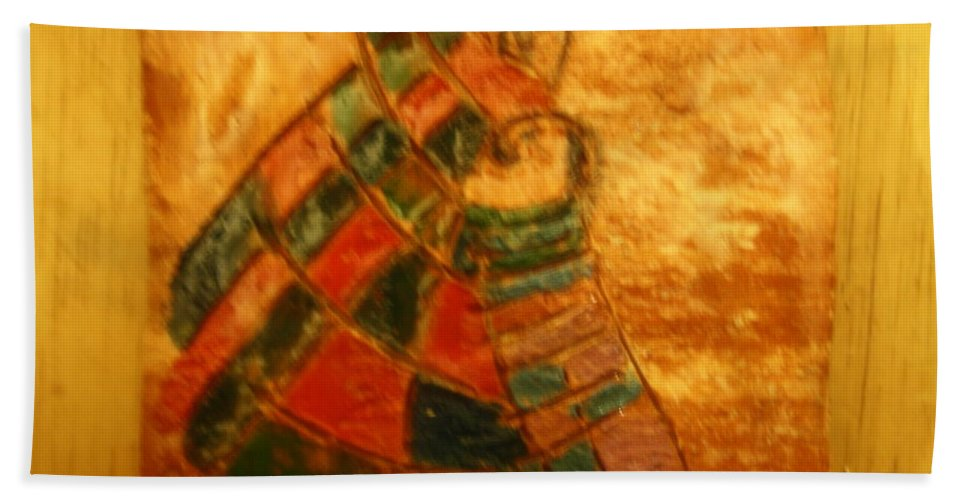 Jesus Beach Towel featuring the ceramic art Mums Warmth - Tile by Gloria Ssali