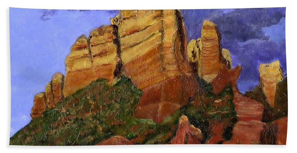 Arizona Beach Towel featuring the painting Munds Mountain by Jamie Frier