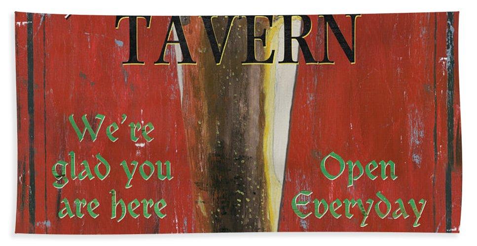 Beer Beach Towel featuring the painting Murphy's Tavern by Debbie DeWitt