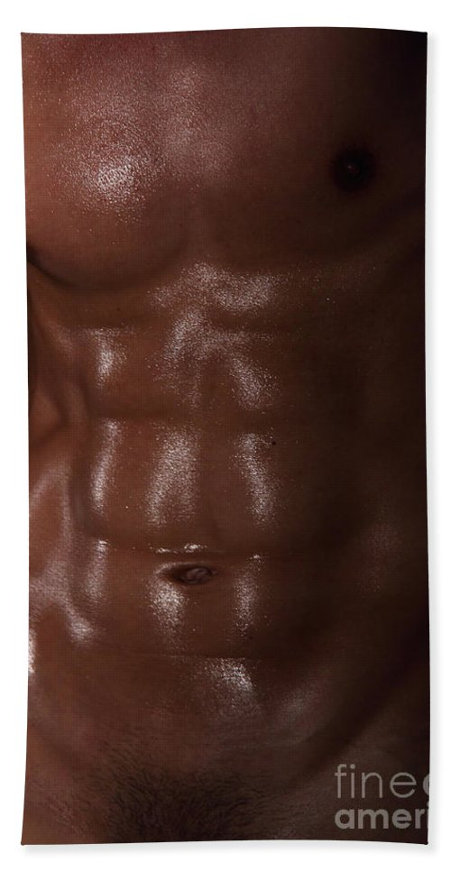 Male Nude Photos Beach Towel featuring the photograph Muscle Man by Mark Ashkenazi