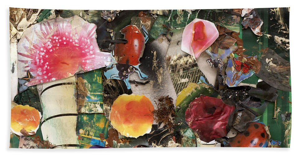 Abstract Beach Towel featuring the mixed media Mushroom by Jaime Becker