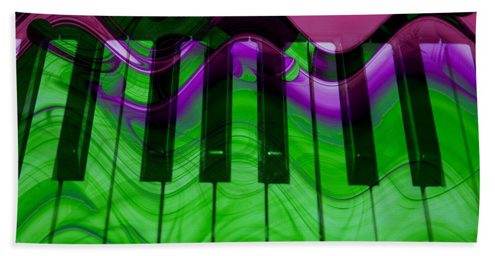 Music In Color Beach Towel featuring the photograph Music In Color by Linda Sannuti