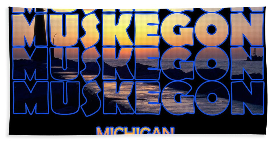 Muskegon Beach Towel featuring the photograph Muskegon Channel Sunset by Frederic A Reinecke