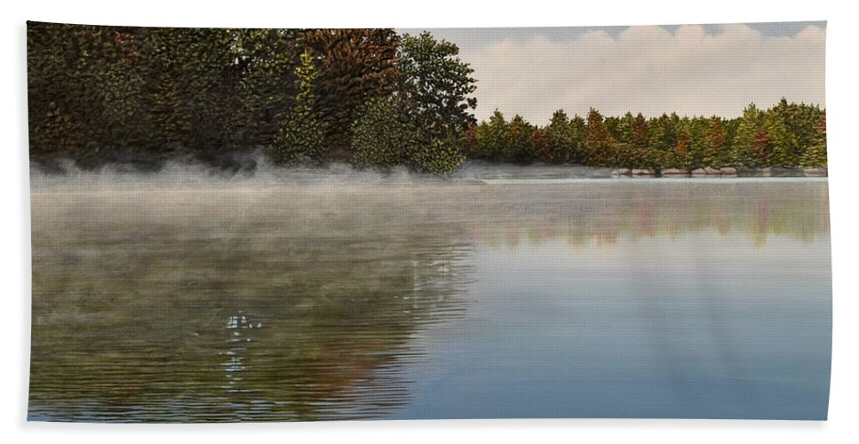 Lakes Beach Towel featuring the painting Muskoka Morning Mist by Kenneth M Kirsch