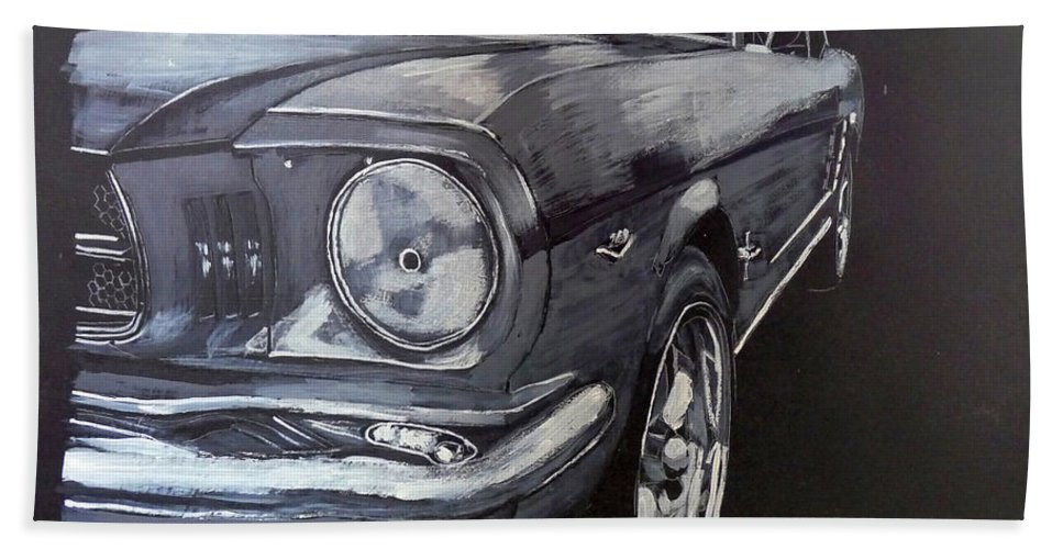 Mustang Beach Towel featuring the painting Mustang Front by Richard Le Page
