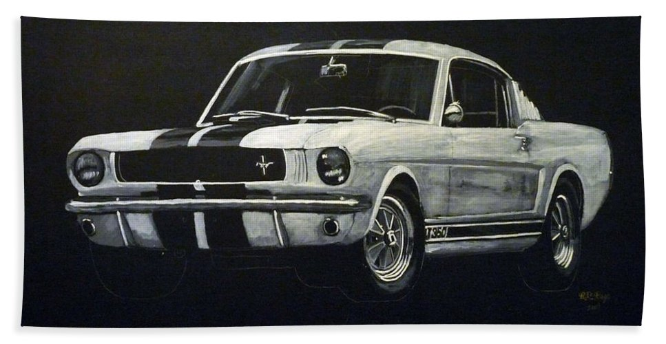 Mustang Beach Towel featuring the painting Mustang by Richard Le Page