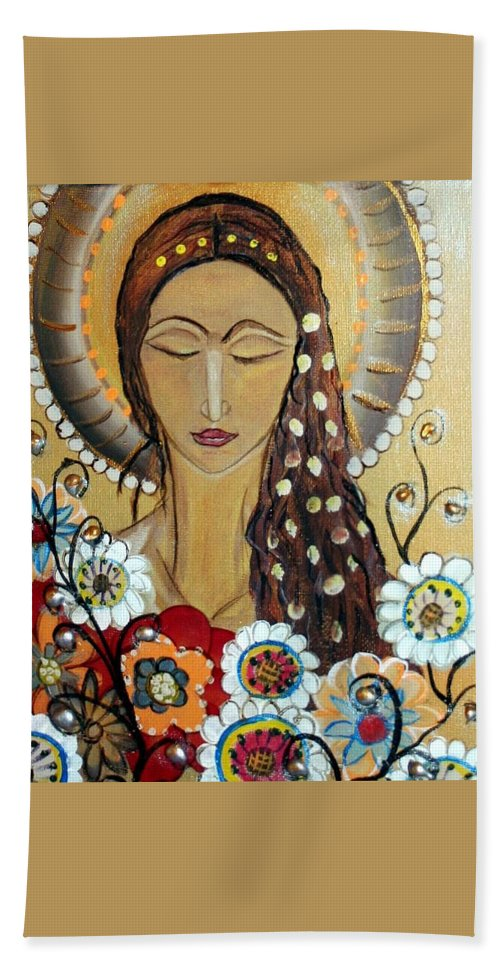 Art Beach Towel featuring the painting My Angel Modern Icon by Luiza Vizoli