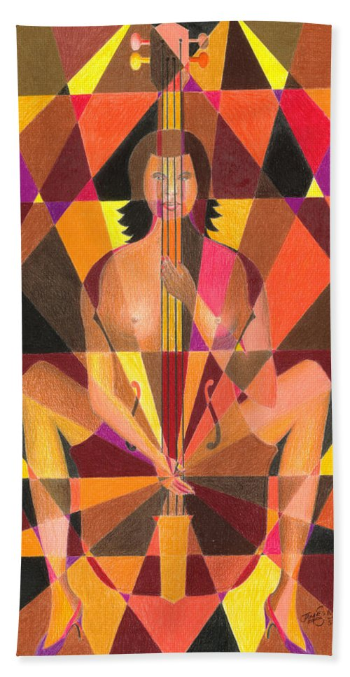 Jazz Beach Towel featuring the painting My Bass by James Mingo
