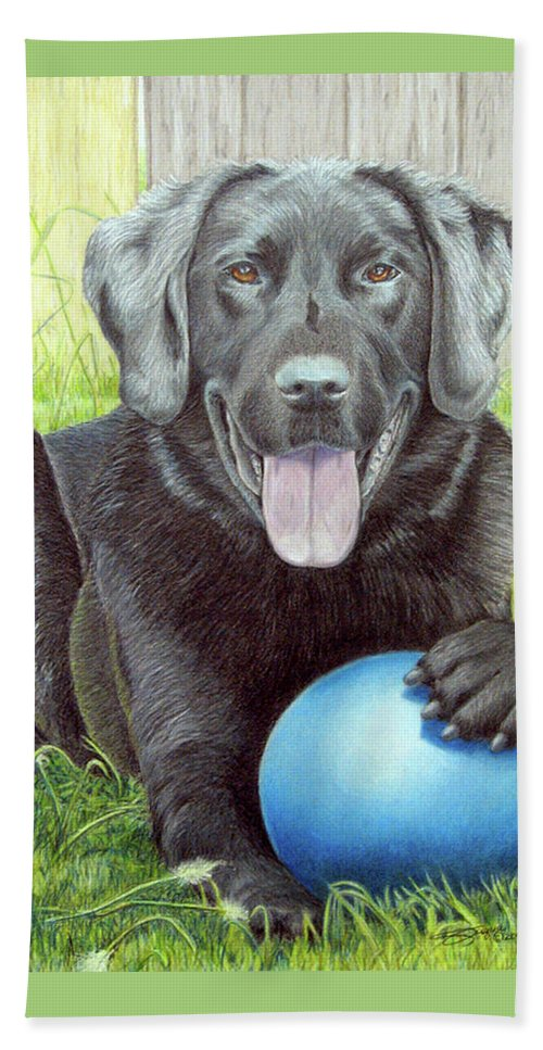Fuqua - Artwork Beach Towel featuring the drawing My Big Blue Ball by Beverly Fuqua