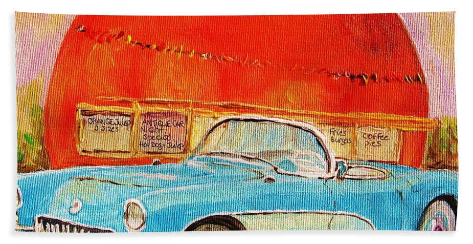 Montreal Beach Towel featuring the painting My Blue Corvette At The Orange Julep by Carole Spandau