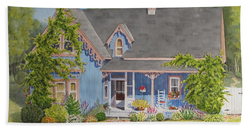 House Beach Towel featuring the painting My Blue Heaven by Mary Ellen Mueller Legault