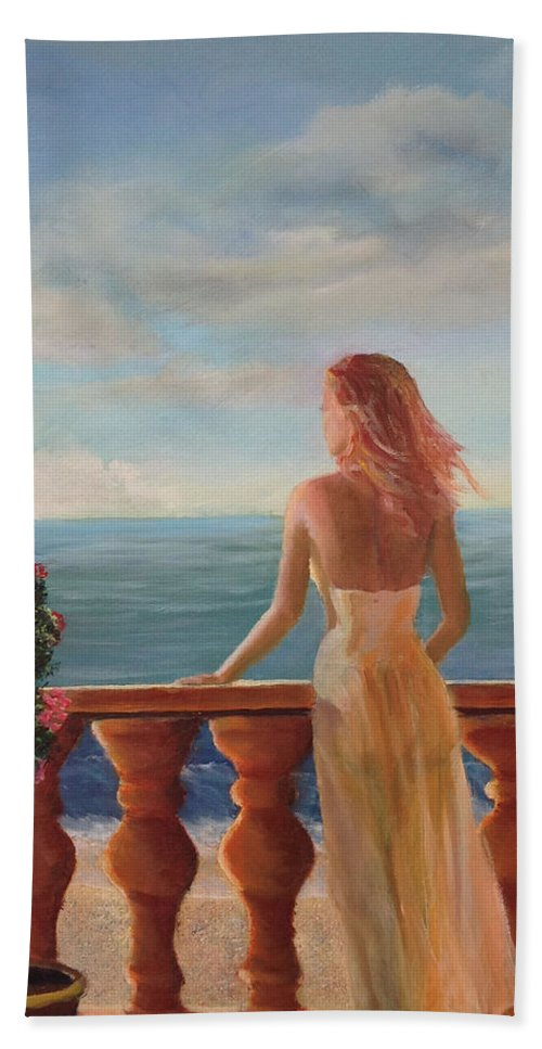 Lady Beach Towel featuring the painting My Darling by Marcel Quesnel