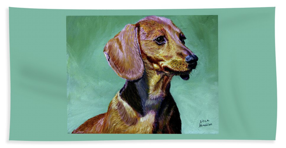 Daschund Beach Towel featuring the painting My Daschund by Stan Hamilton