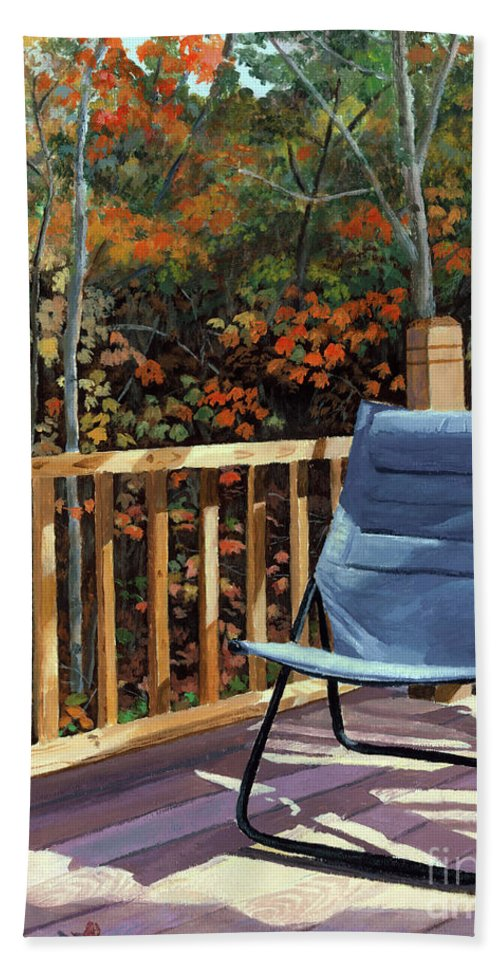 Camp. Fall Beach Towel featuring the painting My Favorite Spot by Lynne Reichhart