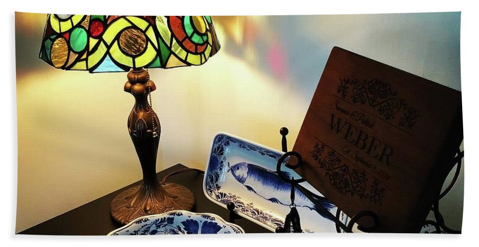 Stained Glass Lamp Beach Towel featuring the glass art My First Lamp by Summer Porter