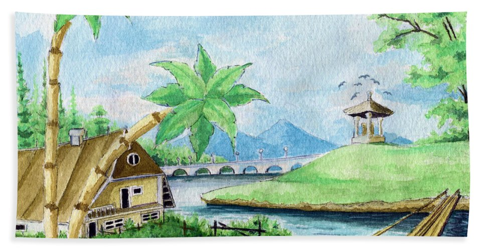 Landscape Beach Towel featuring the painting My First Landscape Watercolor Painting At The Age Of 18 by Alban Dizdari