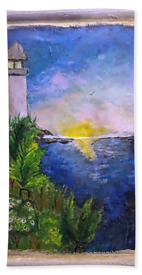 Beach Towel featuring the painting My First Light House by Andrew De Santos