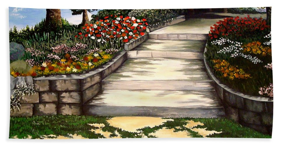 Landscape.pathway Beach Towel featuring the painting My First Masterpiece by Elizabeth Robinette Tyndall