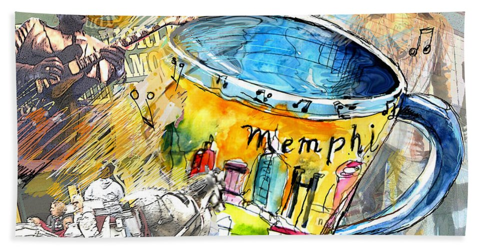 Coffee Beach Towel featuring the painting My First Memphis Mug by Miki De Goodaboom