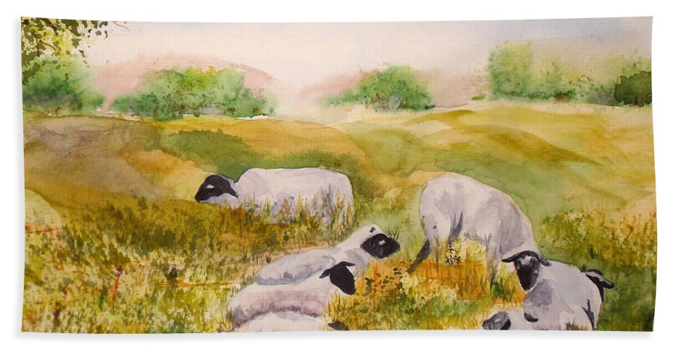 Sheep Beach Towel featuring the painting My Flock Of Sheep by Vicki Housel