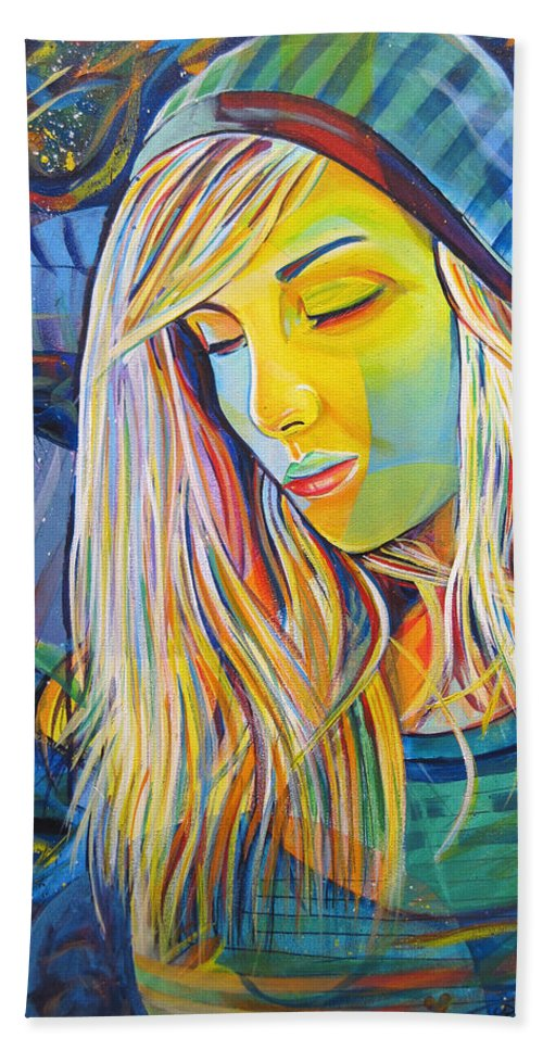 Colorful Beach Towel featuring the painting My Love by Joshua Morton