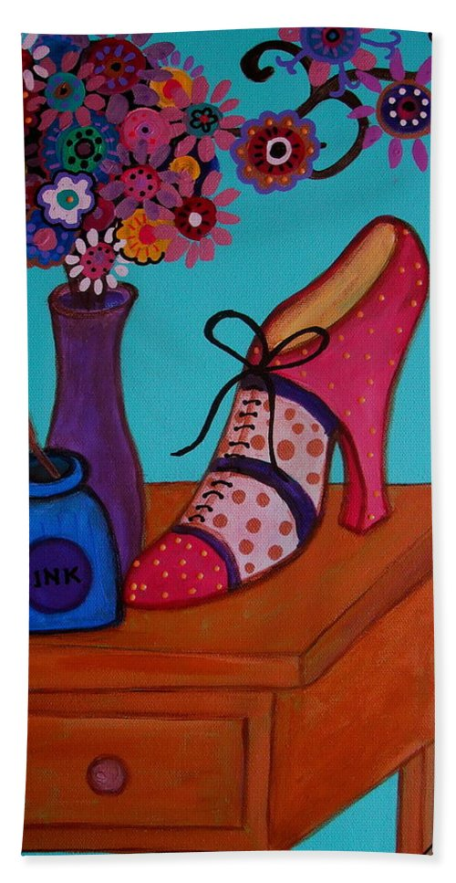 Shoes Beach Towel featuring the painting My Love by Pristine Cartera Turkus
