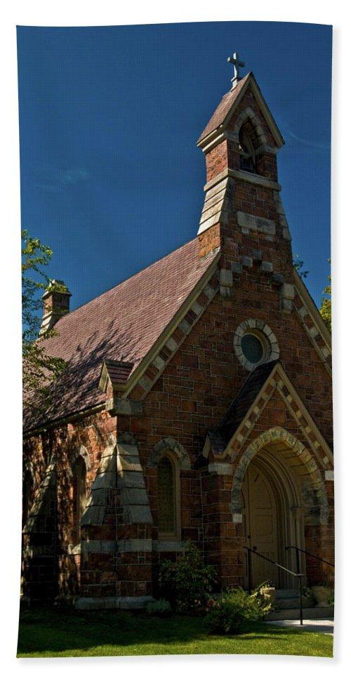 my Redeemer Lives Beach Towel featuring the photograph My Redeemer Lives Church by Paul Mangold
