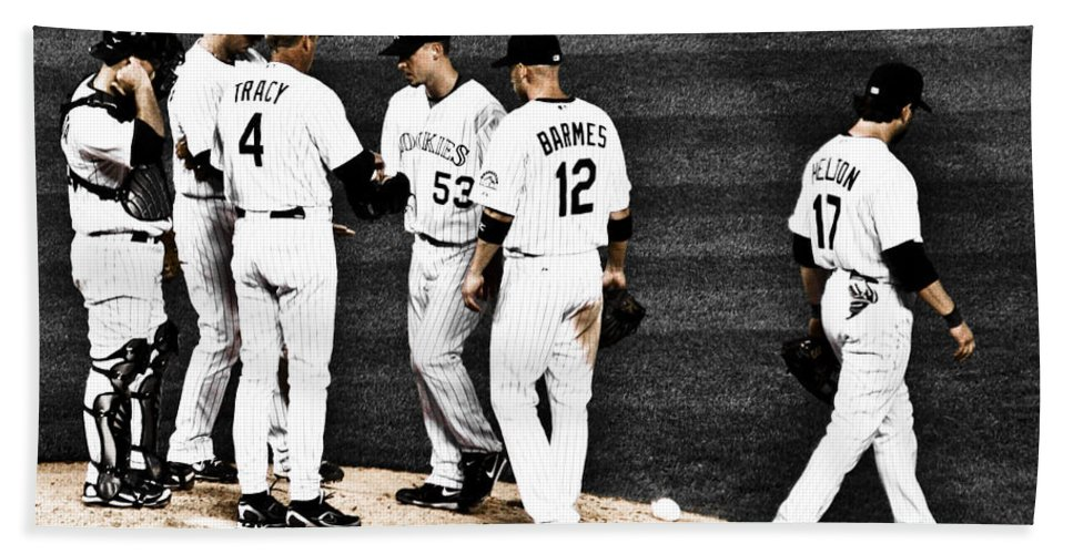 Baseball Beach Sheet featuring the photograph My Rock Collection - Colorado Rockies by Marilyn Hunt