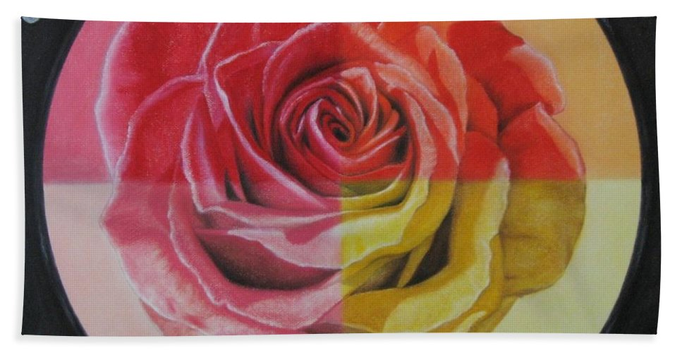 Rose Beach Sheet featuring the painting My Rose by Lynet McDonald