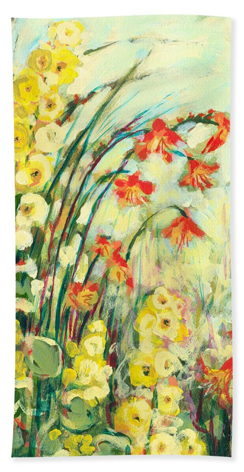 Impressionist Beach Towel featuring the painting My Secret Garden by Jennifer Lommers